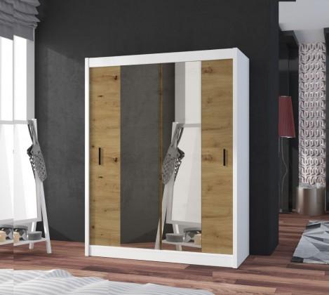Posuvná skriňa Šatníková skriňa Ragla - 120x215x61 cm (biela, dub artisan)