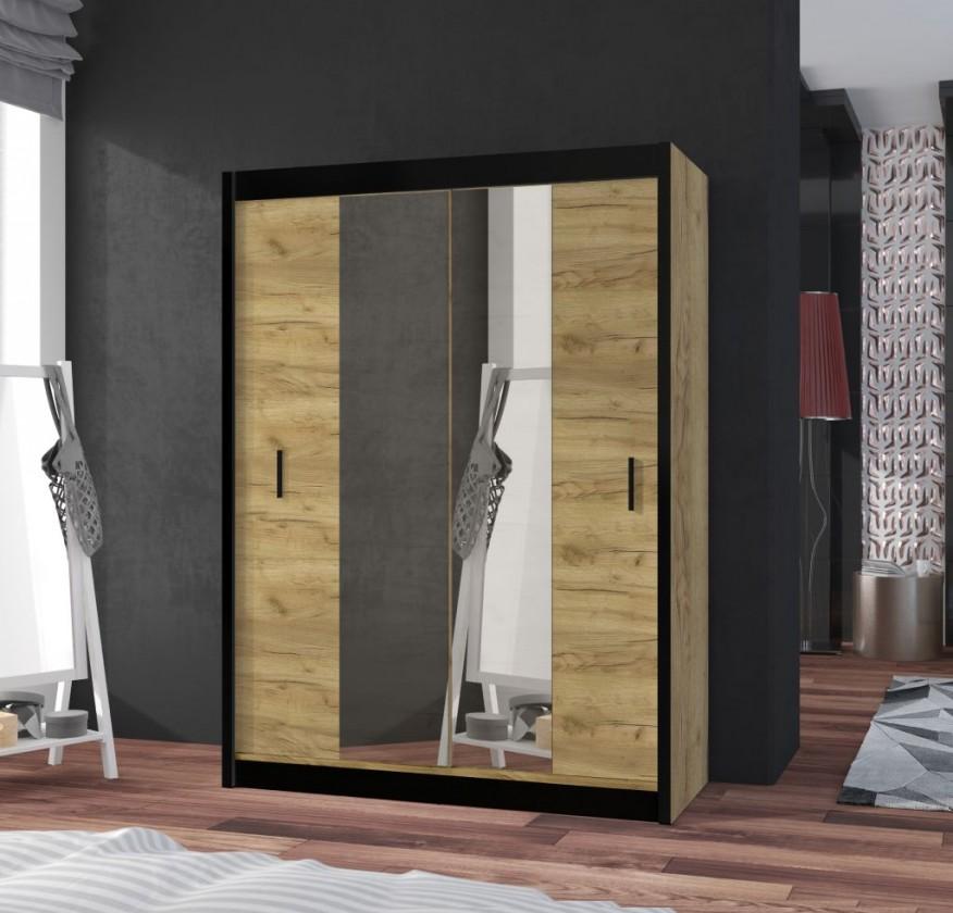 Posuvná skriňa Šatníková skriňa Tofta - 120x215x61 cm (dub craft, čierna)