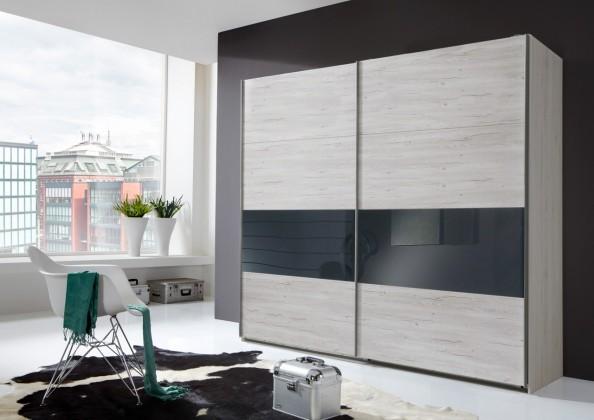 Posuvná Sylt - Šatníková skriňa 2, 2x posuvné dvere (dub biely, sivá)