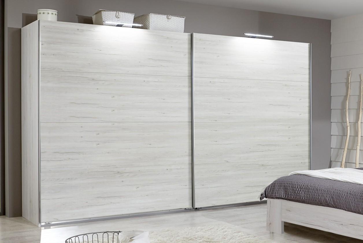 Posuvná Vicenza - šatníková skriňa 4, 2x posuvné dvere (dub biely)