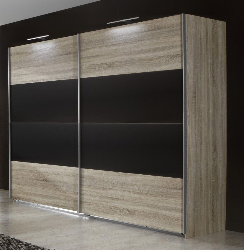 Posuvná Vicenza - šatníková skriňa 5, 2x posuvné dvere (dub/lava čierna)