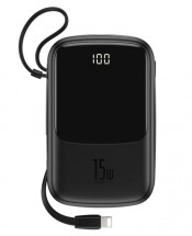 PowerBank Baseus, Qpow, 10 000 mAh s Lightning káblom 3A, čierna