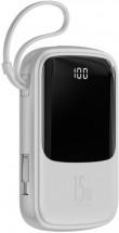 PowerBank Baseus, Qpow, 10 000 mAh s USB-C káblom, 3 A, biela