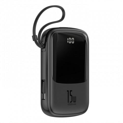 PowerBank Baseus, Qpow, 10 000 mAh s USB-C káblom, 3 A, čierna