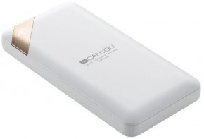 Powerbank Canyon 10000mAh, Li-Pol, displej, Smart IC, biela