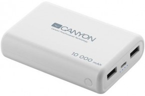 PowerBank Canyon 10000mAh LiPol, 3v1 kábel, Smart IC, biela
