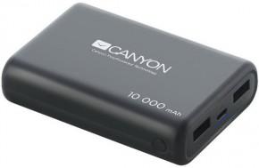 PowerBank Canyon 10000mAh LiPol, 3v1 kábel, Smart IC, čierna