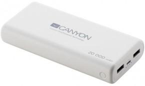 PowerBank Canyon 20000mAh LiPol, 3v1 kábel, Smart IC, biela