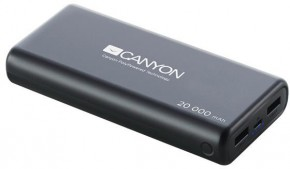 PowerBank Canyon 20000mAh LiPol, 3v1 kábel, Smart IC, čierna