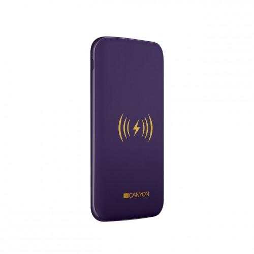 Powerbank s bezdrôtovým nabíjaním 8000mAh, polymérová, fialová