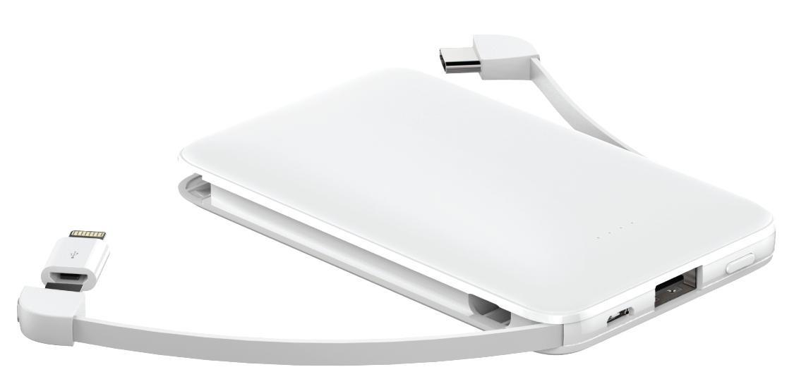 Powerbanka 3v1 PowerbankWG 5000mAh MicroUSB + USB Typ C + Lightning,biela