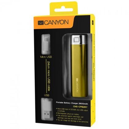 Powerbanka Canyon CNE-CSPB26R Power Bank 2600mAh, žltá