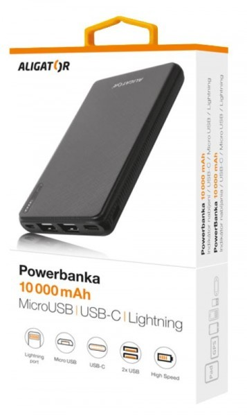 Powerbanka Powerbank Aligator 10000mAh Li-Pol, 3v1 Micro, Lightning, Typ C