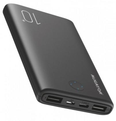 Powerbanka Powerbank Aligator PB10 + 10000mAh, LiPol, s USB Typ C, čierna