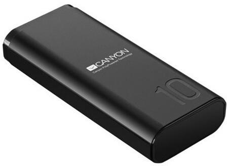 Powerbanka Powerbank Canyon 10000mAh, Li-Pol, Smart IC, čierna