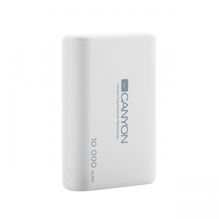 Powerbanka PowerBank Canyon 10000mAh LiPol, 3v1 kábel, Smart IC, biela