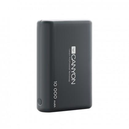 Powerbanka PowerBank Canyon 10000mAh LiPol, 3v1 kábel, Smart IC, čierna