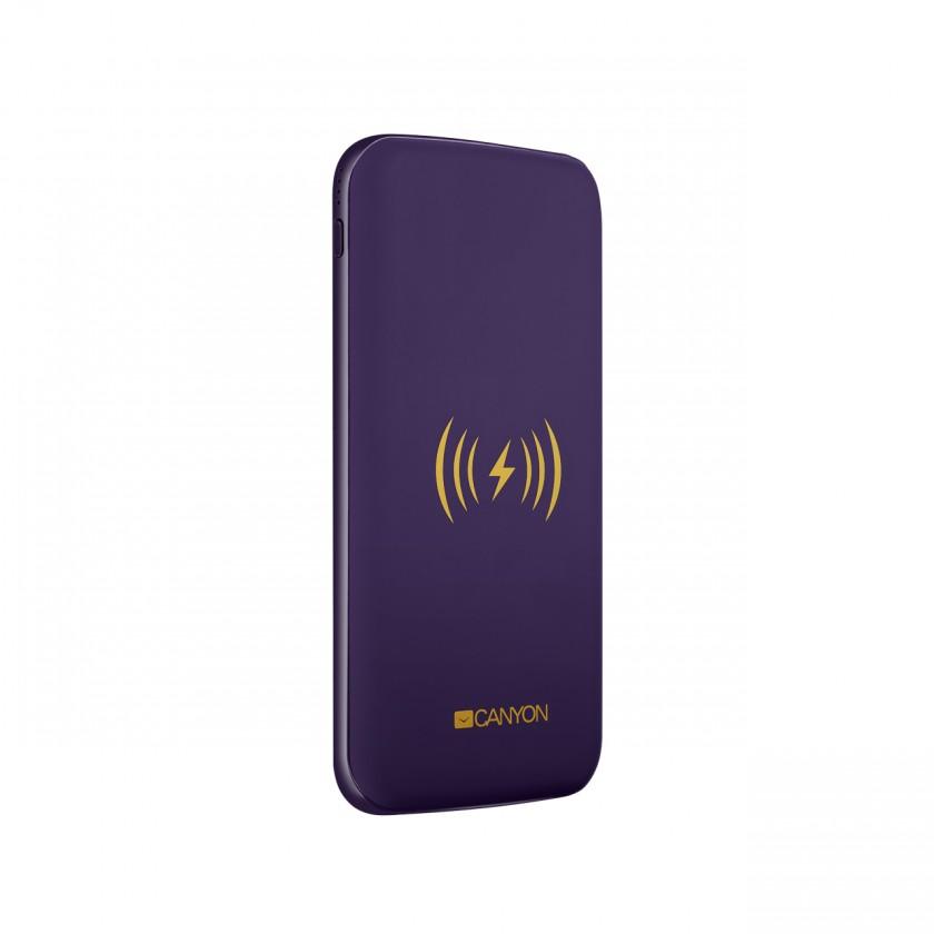 Powerbanka Powerbank s bezdrôtovým nabíjaním 8000mAh, polymérová, fialová