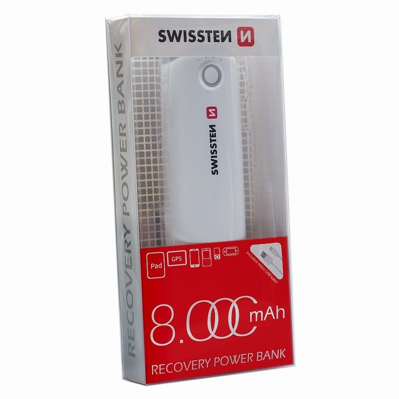 Powerbanka Powerbank Swissten 8000mAh, Li-ion, 2xUSB, s LED osvetlením
