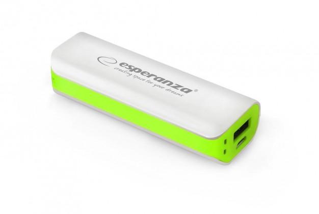 Powerbanky Esperanza EMP103WG JOULE externí baterie 2200mAh, bílo-zelená