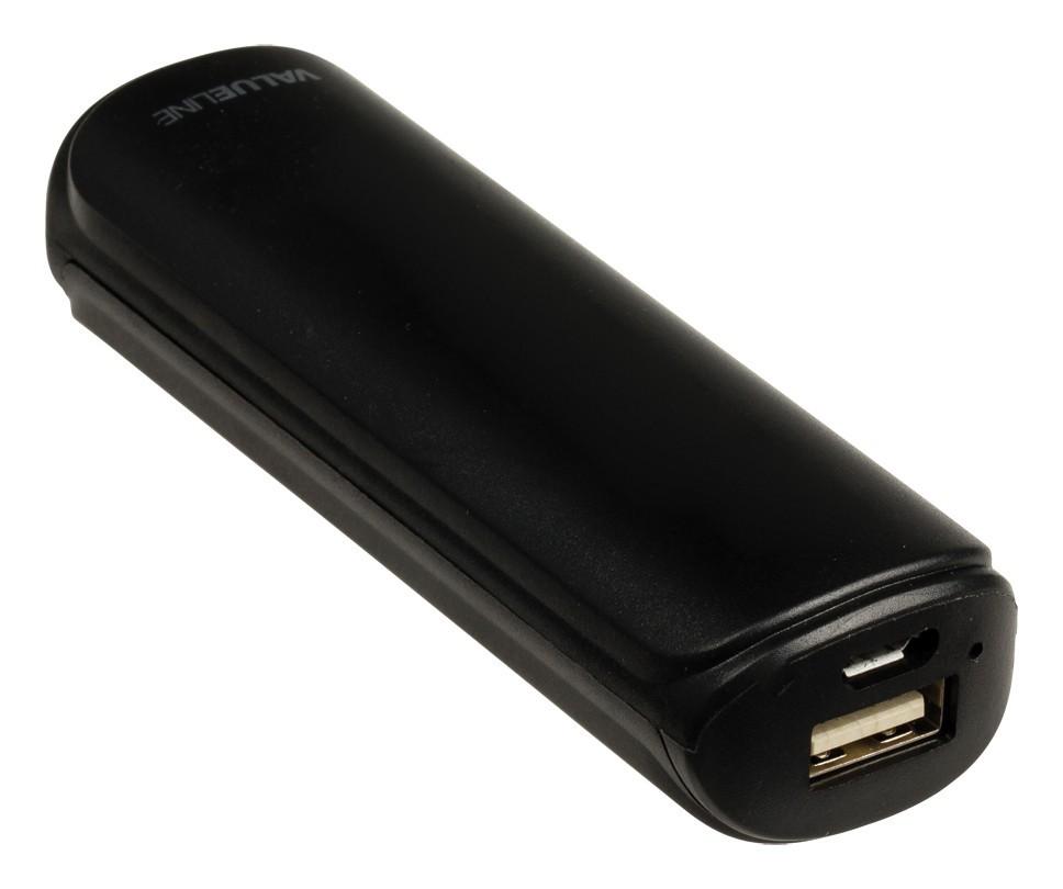 Powerbanky VALUELINE 2 200 mAh, 5 V, 1 A, čierny (VL2200PB001BL)