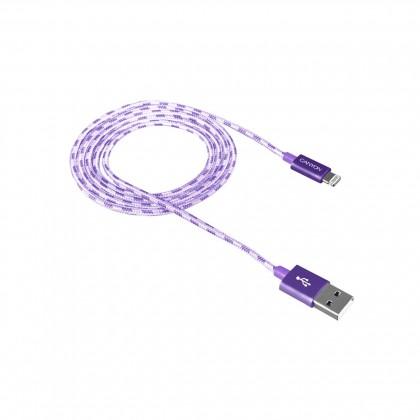Pre Apple Kábel Canyon Lightning na USB, 1m, pletený, fialová