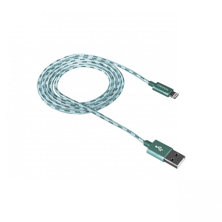 Pre Apple Kábel Canyon Lightning na USB, 1m, pletený, zelená