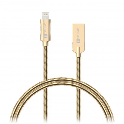 Pre Apple Kabel Wirez Steel Knight Lightning-USB, zlatá