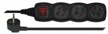 Predlžovací kábel 1,5m 3 zásuvky čierna