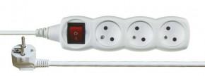 Predlžovací kábel Emos P1311, 3xzásuvka, 1,2m, biely, vypínač