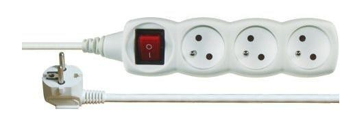 Predlžovací kábel Emos P1313, 3xzásuvka, 3m, biely, vypínač