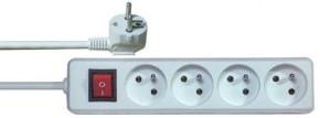Predlžovací kábel Emos P1415, 4xzásuvka, 5m, biely, vypínač