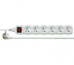 Predlžovací kábel Emos PORX2016, 6xzásuvka, 5m, biely, vypínač
