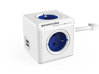 Predlžovačka Napájací adaptér PowerCube Extended 4 zásuvky, 2xUSB, modrá,1,5m