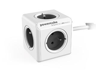 Predlžovačka Napájací adaptér PowerCube Extended 5 zásuviek, sivá, 1,5m