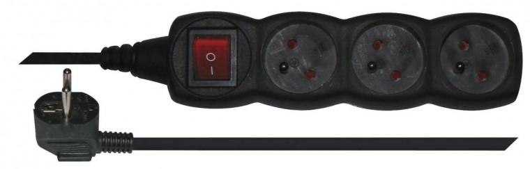 Predlžovačka Predlžovací kábel 1,5m 3 zásuvky čierna