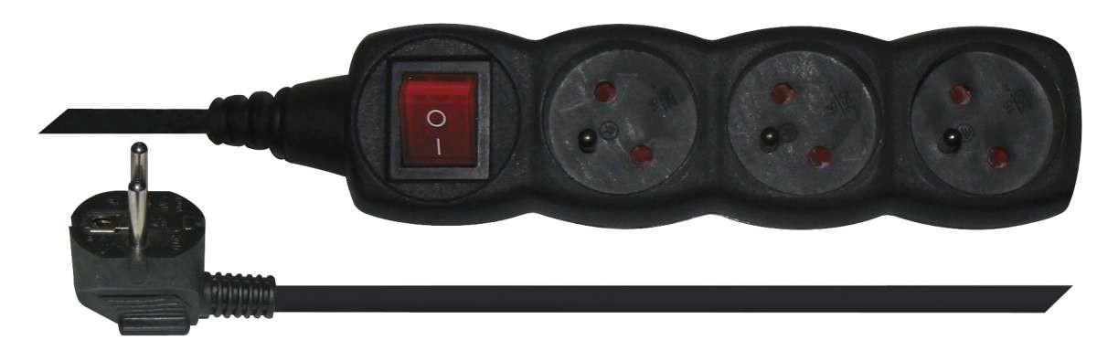 Predlžovačka Predlžovací kábel Emos, 3xzásuvka, 1,5m, čierny
