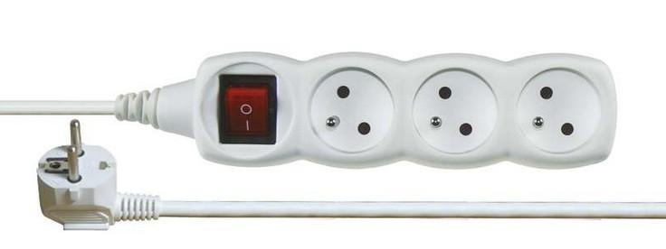 Predlžovačka Predlžovací kábel Emos P1311, 3xzásuvka, 1,2m, biely, vypínač