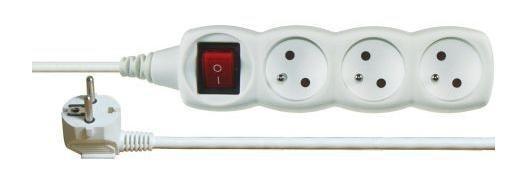 Predlžovačka Predlžovací kábel Emos P1313, 3xzásuvka, 3m, biely, vypínač