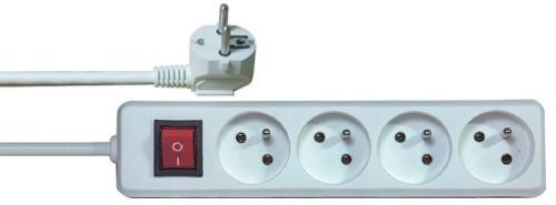 Predlžovačka Predlžovací kábel Emos P1415, 4xzásuvka, 5m, biely, vypínač