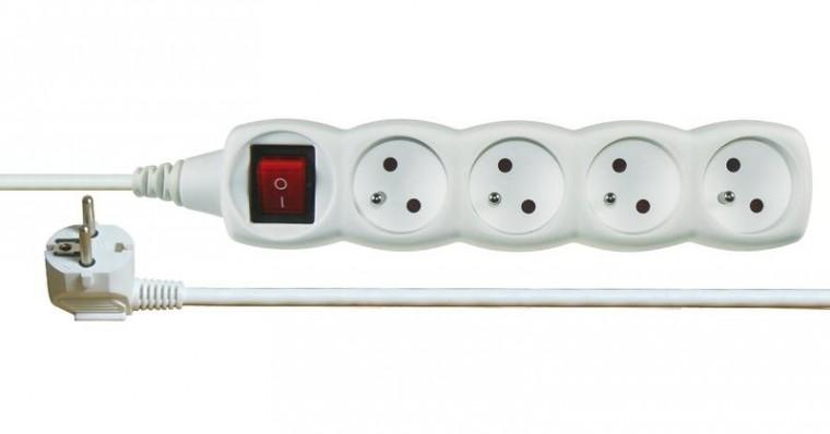 Predlžovačka Predlžovací kábel Emos P1417, 4xzásuvka, 7m, biely, vypínač