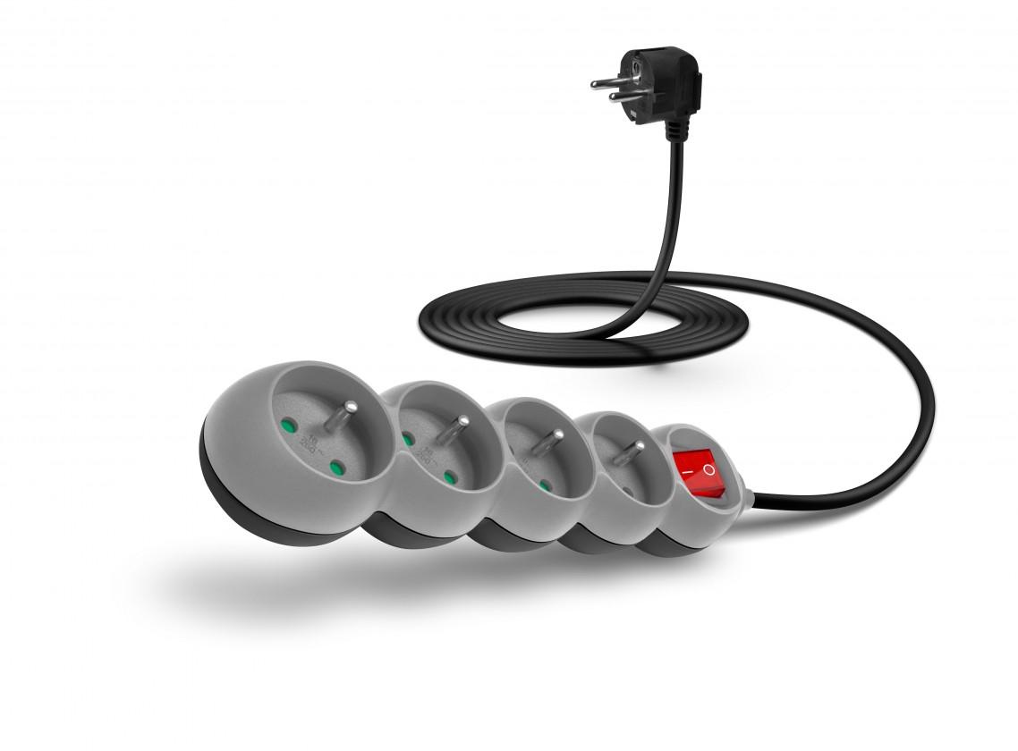 Predlžovačky Connect IT prodlužovací kabel 4 zásuvky 3 m vypínač šedý