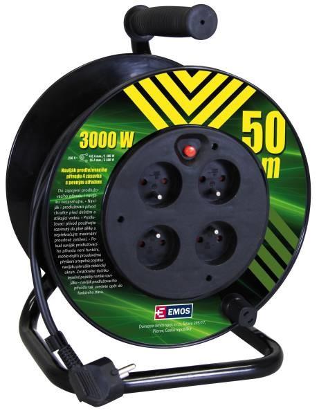 Predlžovačky Emos P19450P, PVC predlž. kábel na bubne, 4 zás. 50m pevný stred