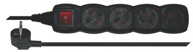 Predlžovačky EMOS predlžovací kábel, vypínač, 5m, 4 zásuvky, čierny