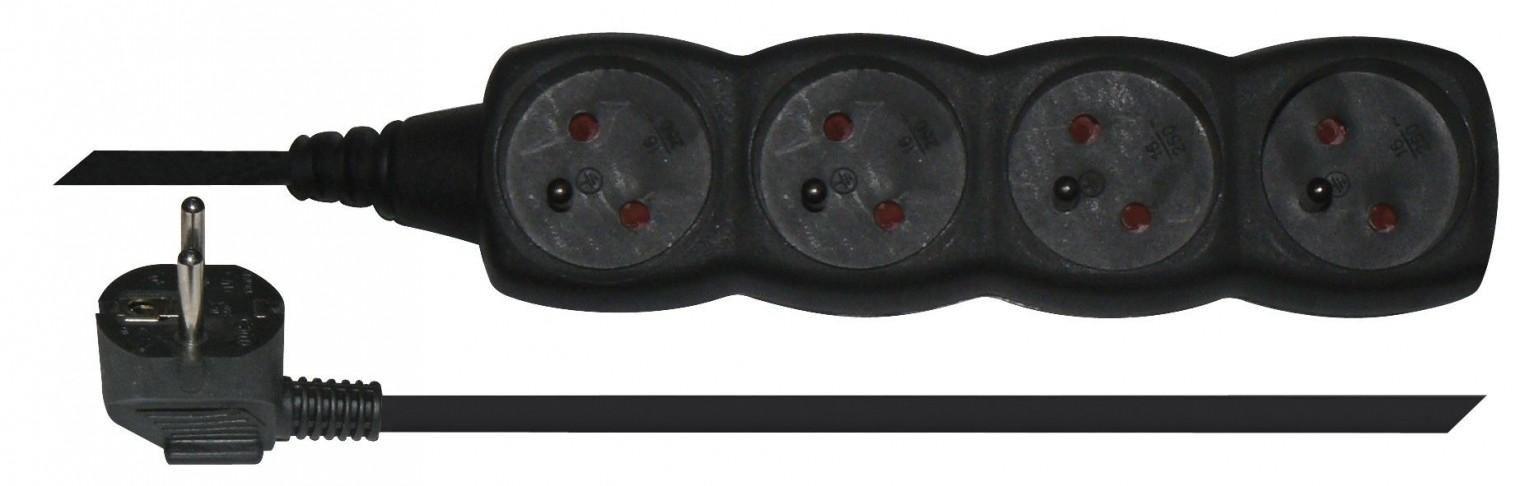 Predlžovačky Predlžovací prívod 4 zásuvky 5m čierny PC0415