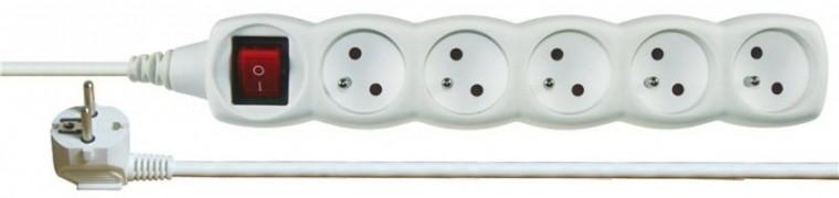 Predlžovačky Prodlužovací kabel 2m 5 zásuvek vypínač bílý
