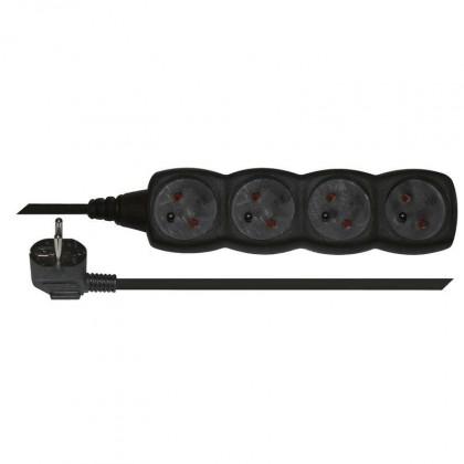 Predlžovačky Prodlužovací kabel 3m 4 zásuvky černý