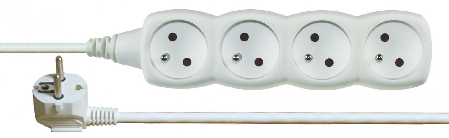 Predlžovačky Prodlužovací kabel 5m 4 zásuvky bílý