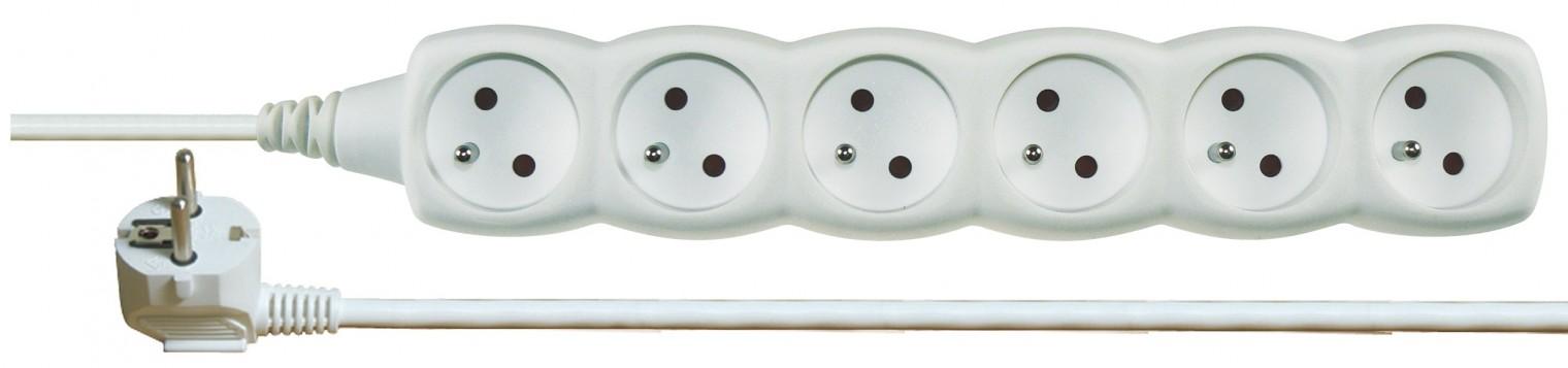 Predlžovačky Prodlužovací kabel 5m 6 zásuvek bílý