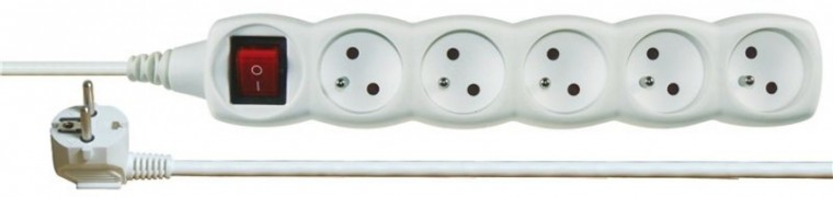 Predlžovačky Prodlužovací kabel 7m 5 zásuvek bílý vypínač